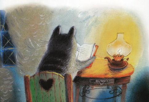 Фото Кот при свете керосиновой лампы читает книгу, рисунок Дианы Лапшиной