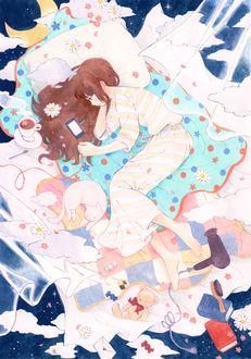 Фото Девушка и белая кошка лежат на кровати в ночном небе