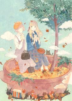 Фото Две девушки едят мороженное, сидя на краю кастрюли, в которой растет дерево