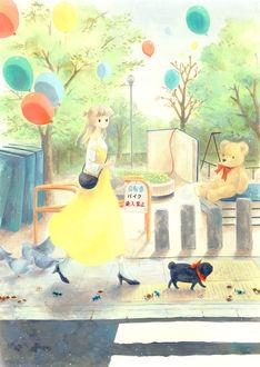 Фото Девушка и песик идут по дороге, усыпанной печеньками и конфетами