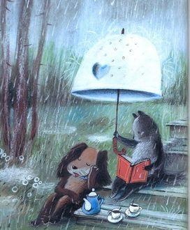 Фото Кот с собакой устроили чаепитие под дождем, прикрываясь большим зонтом