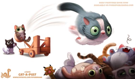 Фото Котик в маске палача выстреливает другими котиками из катапульты, by Cryptid-Creations