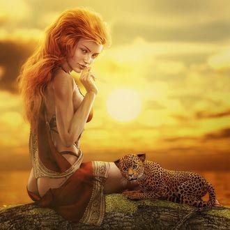Фото Рыжеволосая девушка сидит на дереве с котенком леопарда на закате дня, by shibashake