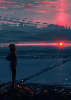 Фото Девушка стоит на обрыве и смотрит на закат над городом, by Alena Aenami