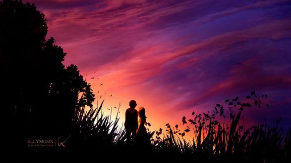 Фото Влюбленные на фоне заката, by Ellysiumn