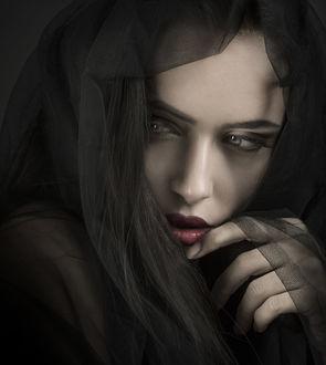 Фото Портрет девушки в легком шарфе, фотограф Joachim Bergauer