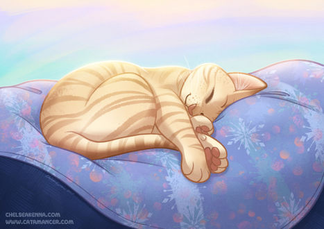 Фото Спящий рыжий кот на подушке, by autogatos