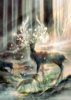 Фото Олени, у одного из которых на рогах растут цветы, у лесной речки