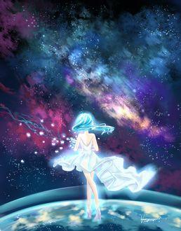 Фото Девушка в белом платье стоит на планете, by Ho Yee