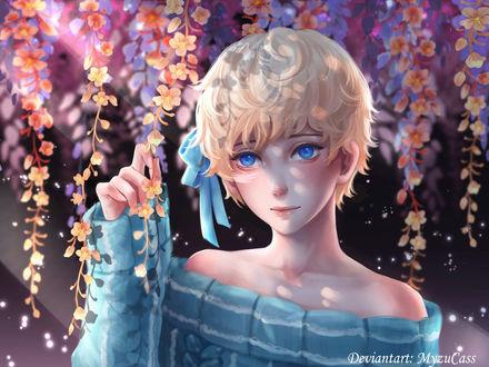 Фото Светловолосая девушка с голубыми глазами стоит под цветущими ветками дерева, by MyzuCass