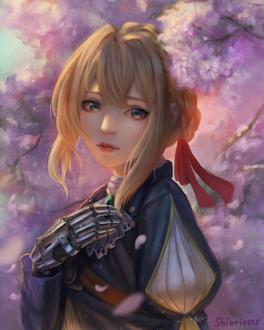 Фото Violet Evergarden / Вайолет Эвергарден на фоне цветущей сакуры, by shiori2525