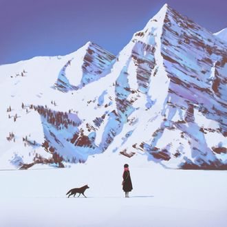 Фото Девушка с собакой на снегу на фоне гор, by Kuvshinov Ilya
