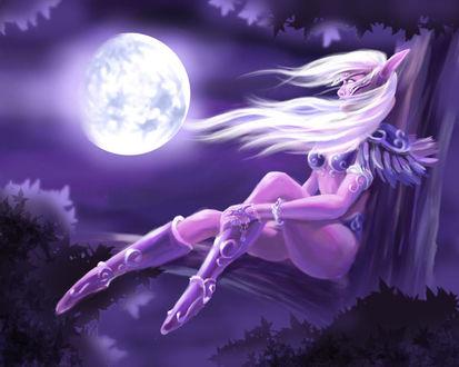 Фото Светловолосая ночная эльфийка сидит на дереве на фоне луны / арт на игру World of Warcraft, by coldsnowman