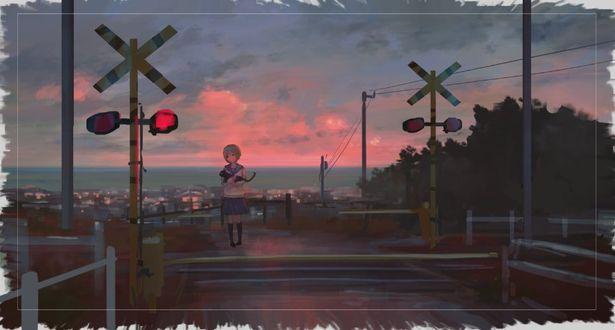 Фото Девочка с кошкой стоит на железнодорожном переезде