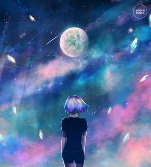 Фото Девочка стоит на фоне планеты, by sugarmints
