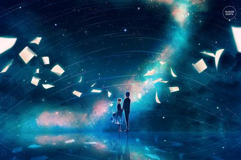 Фото Влюбленные стоят на фоне облачного неба, by sugarmints