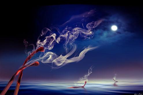Фото Cгоревшие спички с дымом, фотохудожник Игорь Зенин
