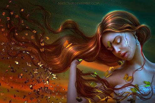Фото Девушка с длинными волосами с бабочками, by BrietOlga
