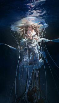 Фото Девушка, прикованная цепью под водой, и две медузы, by Miv4t