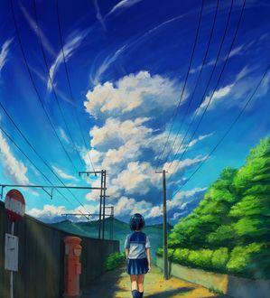 Фото Школьница идет по тропинке вдоль забора, by soda