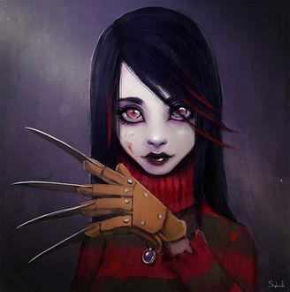 Фото Девушка, одетая в одежду Фредди Крюгера / Freddy Krueger из фильма Кошмар на улице ВязовA Nightmare on Elm Street, by Sephiroth-Art