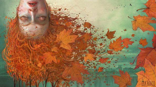 Фото Спящая девушка осень, художница Lisa Aisato