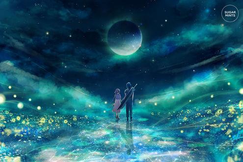 Фото Парень с девушкой идут по дорожке к ночному небу, от sugarmints