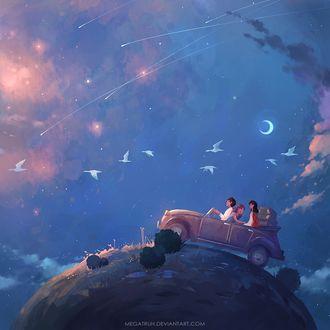 Фото Две девушки и парень едут в авто в космосе, by megatruh
