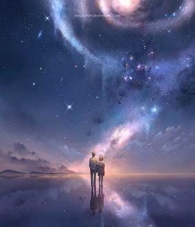 Фото Парень и девушка держатся за руки, стоя на зеркальной поверхности, в которой отражаются звезды, by megatruh