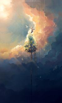Фото Мальчик на вершине дерева над облаками, by megatruh