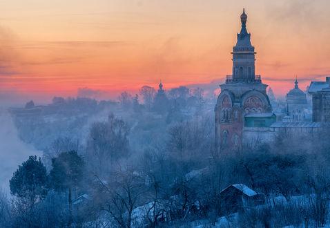 Фото Старая церквушка морозным вечером, фотограф Сергей Давыдов