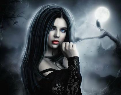 Фото Девушка с длинными волосами и окровавленными губами