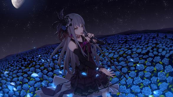 Фото Персонаж Minato Yukina / Минато Юкина на поле с голубыми розами