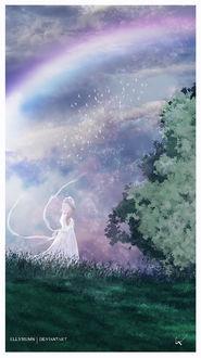 Фото Девушка в белом платье, в шляпе стоит на фоне облачного неба с радугой, by Gene Raz von Edler