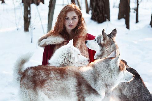 Фото Модель Мария с собаками на снегу, фотограф Alexandra Bochkareva