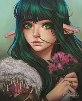 Фото Зеленоглазая эльфийка с темно-зелеными волосами держит в руках букетик цветов, by AmberHarrisArt