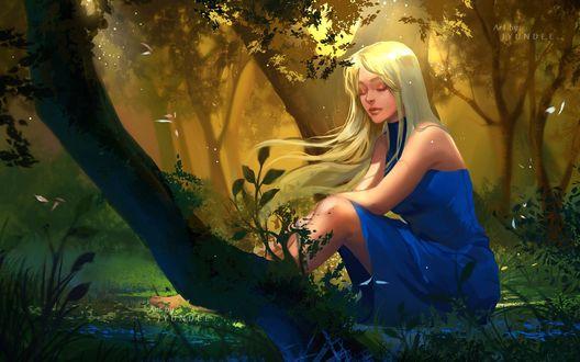 Фото Девушка в голубом платье сидит у дерева, by Jyundee