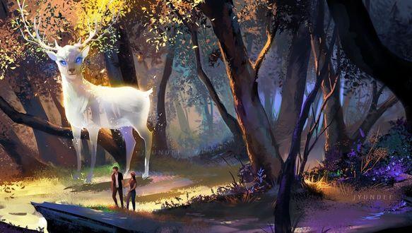Фото Парень с девушкой стоят в лесу с огромным белым оленем, by Jyundee