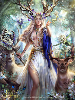 Фото Богиня Daphne / Дафна в окружении обитателей сказочного леса, арт к игре Legend of the Cryptids / Легенда Криптиды, by Solan