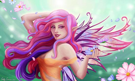 Фото Эльфийка с разноцветными волосами держит в руке цветок космеи, by EmilyCammisa