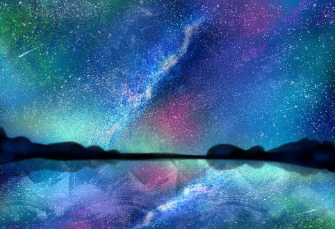 Фото Разноцветное звездное небо над водоемом, by wy