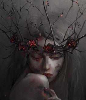 Фото Девушка в венке с розами и ветками, by Midfinger