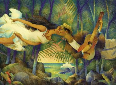 Фото Влюбленные в поцелуе. Иллюстратор Raul Colon