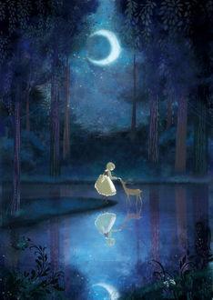 Фото Девочка в волшебном лесу, освещенном лунным светом, гладит грациозную лань