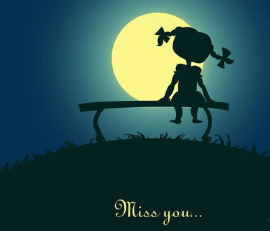 Фото Девочка сидит на лавочке на фоне полной луны (miss you / скучаю по тебе)