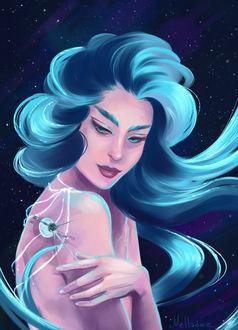 Фото Девушка с голубыми волосами и спутником рядом, by Mellodee