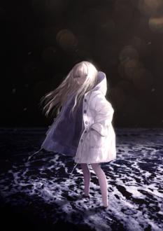 Фото Девушка на морском берегу ночью, by cinkai