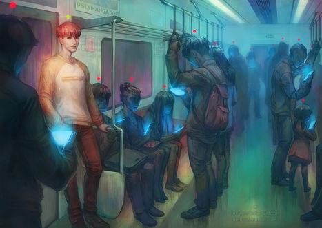 Фото Парень, выделяющийся среди людей в электричке, так как не смотрит на экран гаджета, by len-yan