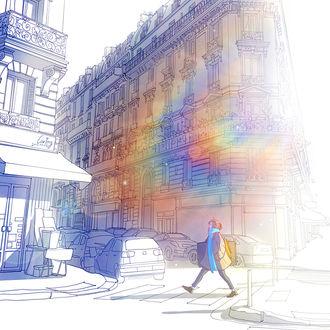 Фото Девушка в радужном блике идет по серой улице города, by CaringWong
