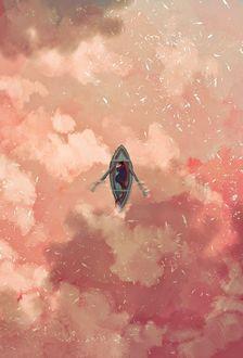 Фото Мужчина спит в лодке, плывущей по облакам, by 9jedit